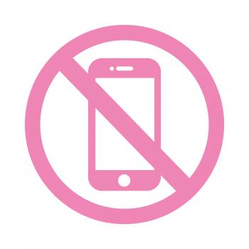 PIKTOGRAM ZAKAZ UŻYWANIA TELEFONÓW folia różowa